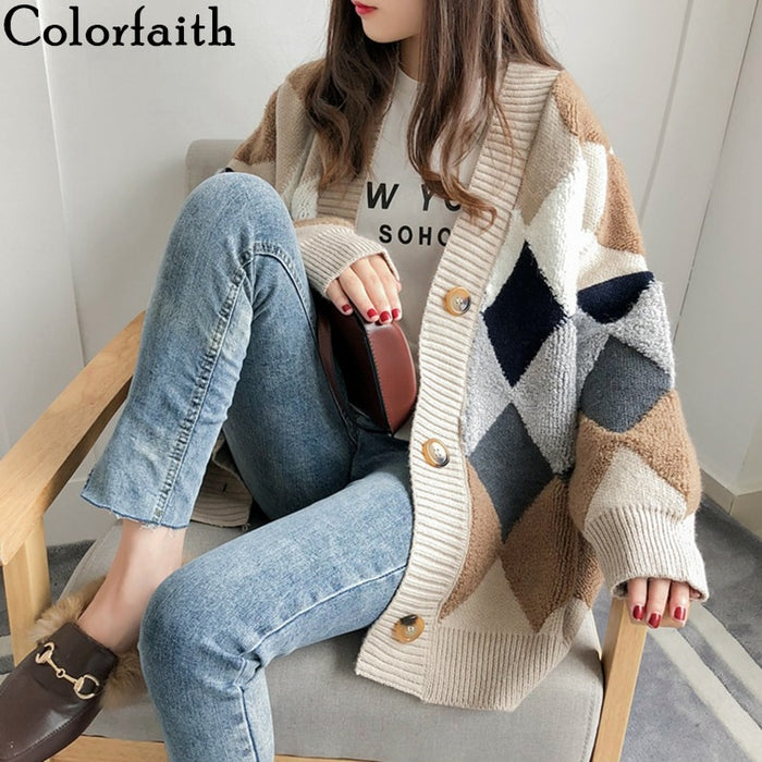Colorfaith Women's Sweaters Autumn Winter 2019 fashionable Casual Plaid V-Neck Cardigans