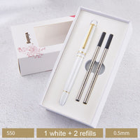 Winning Roller Ball Pen Gift Box Set Fine Point 0.5mm Black Ink Metal Black White Red Business Office Pens for Men Women
