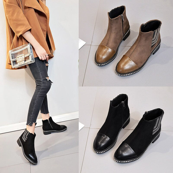 2020 New  Chelsea Boots Women Soft Leather Ankle Boot Slip on Rivet Diamond Martin Boots