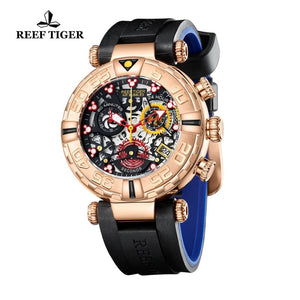 Reef Tiger/RT Top Brand Mens Sport Watches Chronograph Rose Gold Skeleton Watches Waterproof reloj hombre masculino RGA3059-S