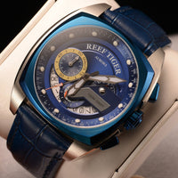 Reef Tiger/RT New Design Blue Sport Watches Leather Band Square Men Watch Waterproof Military Watches Relogio Masculino RGA3363