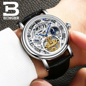 Fashion Tourbillon Mechanical Watches Swiss BINGER Automatic Watch Men Leather Strap Moon phase Sapphire Waterproof Montre homme