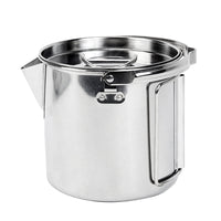 Outdoor Camping Tableware 1.2L Stainless Steel Hanging Pot Camping Cup Camping Cookware  Soup Coffee Pot Portable Spoon Fork