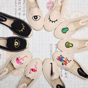 Fashion 16 design shoes woman flats hemp loafer fishermen shoes espadrilles straw moccasins lips eyes cute cartoon espadrilles