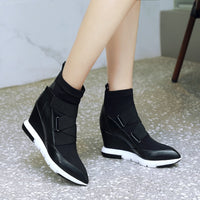 ZVQ 2019 new mixed colors genuine leather women shoes pointed toe super high wedges platform hook and loop winter ankle boots