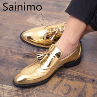 Men Suit Casual Business Shoes Luxury Brand Gold Men Leather Shoes Moccasins Breathable Slip Light Plus Size Shoes Scarpe Uomo