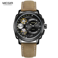 MEGIR Mens Automatic Mechanical Fashion Top Brand Sports Watches Tourbillon Moon
