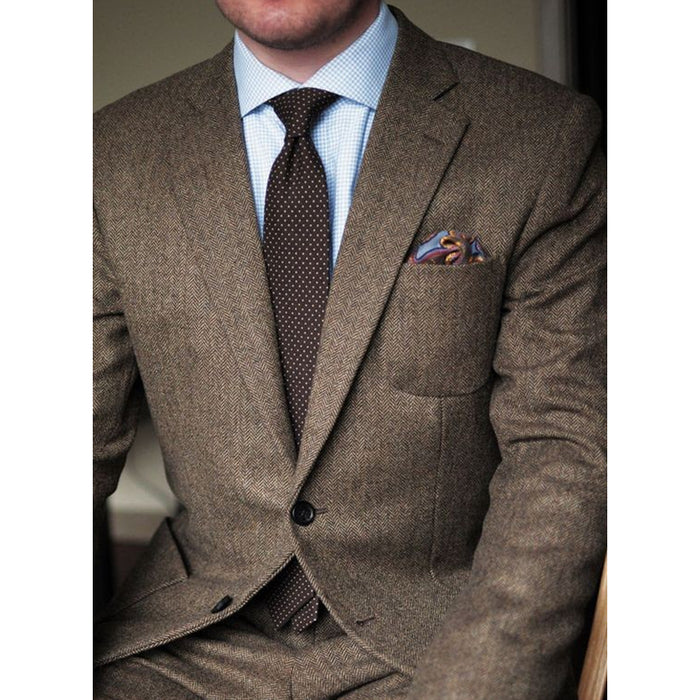 Dark Brown tweed blazer men Wool Herringbone British style custom made Mens suit slim fit