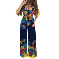 Sexy Women Jumpsuit lady Off Shoulder Self Tie Yellow Jumpsuits 2019 New Ruffle Half Sleeve ladies Elegant Jumpsuit ED
