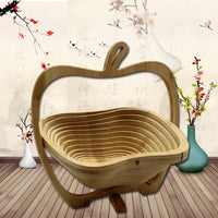 Foldable Kitchen Fruits Vegetable Storage Basket Holder Bamboo Storage Basket Folding Fruit Basket Innovative Craftworks