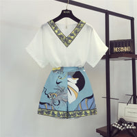 2019 New Summer Fashion Women's Sets Vintage Printing V Neck Chiffon Top + Casual Wide Leg Shorts All-match Students Suits