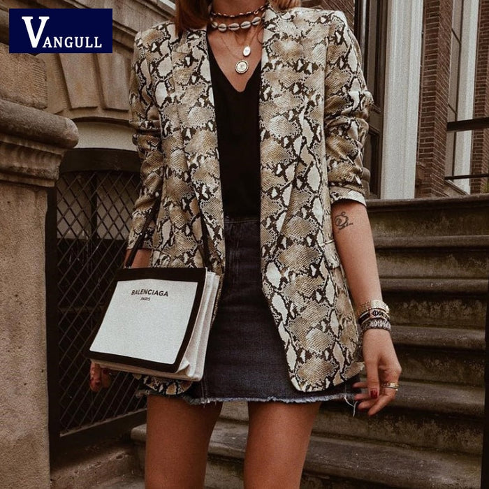 Vangull Women basic Jacket England Style Snake Print Jackets 2019 Pockets Notched Collar