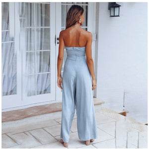 Jumpsuits Boot Cut Plus Size 2019 Long Casual Women Print Blue Lace Up  Summer Jumpsuits