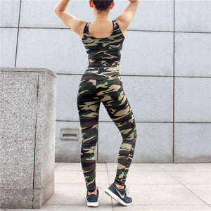 Camo Workout Clothes Jumpsu for Women Yoga Set Gym Leggings Sport Suit Fitness Breathable V Collar Patchwork Active Wear