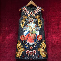 Svoryxiu Vintage Black Mini Dress Women's Sleeveless luxurious Diamonds Our Lady Print