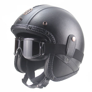 Free shipping PU Leather for  Helmets 3/4 Motorcycle Chopper Bike helmet open face vintage motorcycle helmet