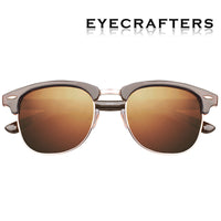 Classic Half Metal Frame Polarized Sunglasses Men Women Semi-Rimless Tortoise Brown