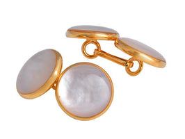 5pairs/lot Double Side Pearl Cufflink Nature Pearl Shells Chain Cuff Links Gold/Silver Business Gift Men Jewelry Accessory