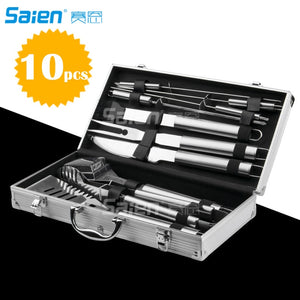 10pc  Grill Accessories Set -Heavy Duty Stainless Steel Barbecue Grilling Utensils with Non-Slip Handle in Aluminum Storage C