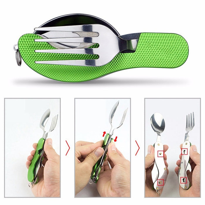 Multi-Function 3 in 1Stainless Steel Outdoor Tablewares Camping Hiking Folding Picnic Portable