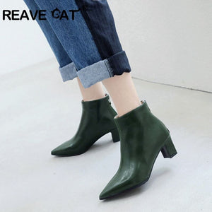 REAVE CAT Winter ankle boots for women zipper Pointed toe bootie 5cm Thick heel botines mujer chaussures femme 2019 Spring A1439