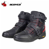 SCOYCO Motorcycle Boots Waterproof Moto Boots Men Microfiber Leather Motocross Off-Road Racing Motorbike Riding Shoes Black