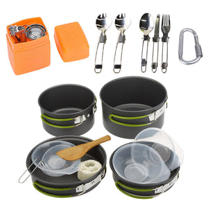 Camping Cookware Set Multifunctional 3 Persons Cooking Pots Pans Tableware Outdoor Picnic Hiking Pot Pans Bowls Forks Camping