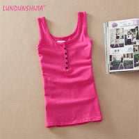 LUNDUNSHIJA 2017 Summer Sexy Women Solid Tank Tops Hot Leisure Camisole Blusas Vest Woman's Modal Cotton Tank Tops Blusas Vest