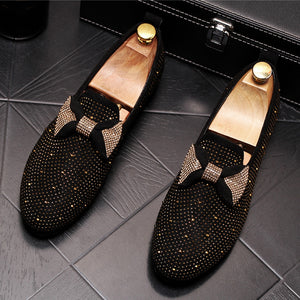 CuddlyIIPanda Luxury Designer Men Butterfly-knot Casual Loafers Male Bling Crystal Rhinestone Slip on Slippers Wedding Shoes
