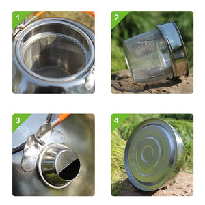 BRS-TS06/BRS-TS07 Stainless Steel Tea Pot Camping Kettle  Water Kettle  Cookware pot Kettle Outdoor Cookware