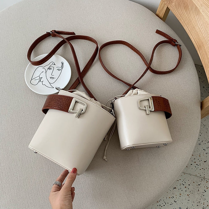 Designer Solid Color Crossbody Bags For Women 2019 Leather Bucket Bag Ladies Purses