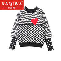 Geometric Heart Pattern Long Sleeve Tops Lovely Pullovers Knitted Loose Sweaters Tops 2019 Autumn Winter Women Sweaters