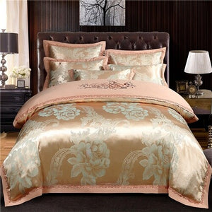 Cotton Flat/Bed sheet Fitted sheet Luxury Satin Jacquard Duvet Cover Queen King Bedding Set