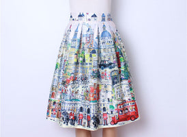 2016 Retro Vintage Ladies Fashion Village Scenery Print High Waist Flared Pleated Midi Skirt Holiday Wear Saia Femininas SK8107