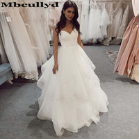 Mbcullyd Tiered A Line Wedding Dress With Spaghetti Straps Backless Long Bridal Dresses Gown Plus Size African Vestido De Noiva