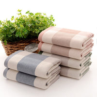 Plaid Pattern Cotton Bathroom Towel Super Absorbent Bath Towel Face Towel Hand Towels 76X34CM