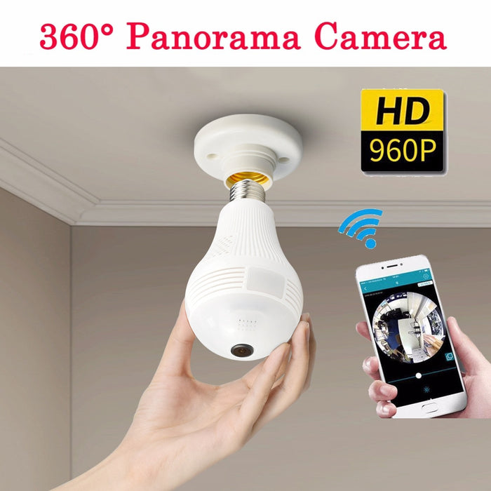 360 Degree Panorama Video Camera Wifi IP Light Bulb Camera for iPhone Android