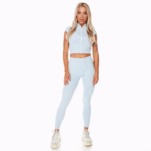 Women Yoga Set Gym Clothing Ombre Seamless Leggings+Cropped Shirts Workout Sport Suit Women No Sleeve Fitness Set Active Wear