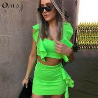 OMSJ 2019 New Beach Style 3 Colors Women Summer Dress Neon Pink Green Orange Ruffle Crop Top+ Mini Skirt Sexy Night Club Outfits