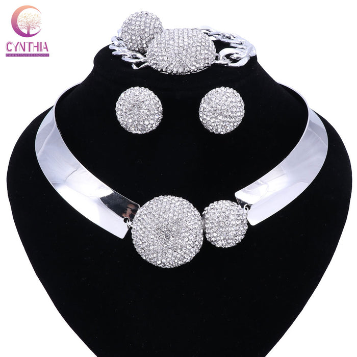New Luxury Maxi Women Bijoux Jewelry Crystal Statement Alloy Necklaces Collar Choker Bib Pendants jewelry set necklace ring