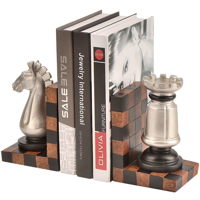 Europe Retro Creative Bookends Figurines Resin Chess Model Book Stand Ornaments