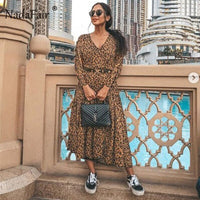 Nadafair Women Leopard Dress 2019 Long Sleeve Autumn Winter Party Elegant Dress Animal Print Vintage Midi Dress Women Vestidos