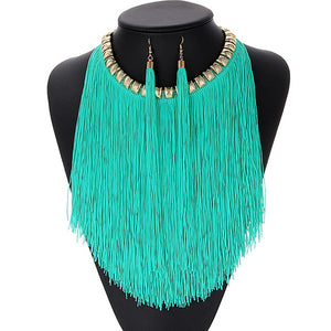 ZHINI Bohemian Retro Jewelry Sets For Women Fringed Pendant Tassel Necklace Earrings