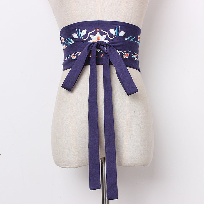 Women's runway fashion embroidery cotton Cummerbunds female vintage Dress Corsets Waistband Belts decoration wide belt R1264
