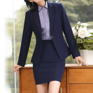 Women Spring Autumn new fashion 2 piece set women Skirt suits slim work wear office ladies long sleeve blazer and skirt outfits