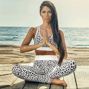 Leopard Print Sportswear Women Yoga Sets Tracksuit Gym Wear Running Clothing Sport Suit