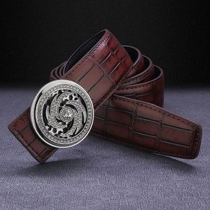 New fashion vortex rotate round buckle belt men luxury famous brand genuine leather designer High Quality ceinture homme