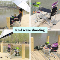 Multifunction Outdoor Foldable Fishing Chair Camping Hiking Camouflage Chair Beach Picnic Chairs Seat Stool Parasol Umbrella T4