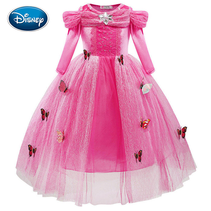 Disney Girls Cartoon Dress Fashion Cinderella Princess Dress Cute Lace Screen Gauze Butterfly