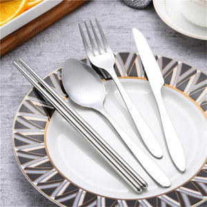 Fork Spoon Chopsticks 4 Pieces/Set Stainless Steel Cutlery Outdoor Portable Travel Camping Tableware